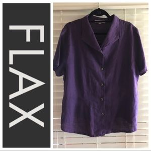 FLAX Button Down Shirt Size Large